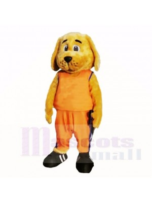 Sporty Dog with Orange Shirt Mascot Costumes Cartoon