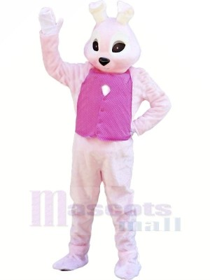 Bunny with Pink Vest Mascot Costumes Animal