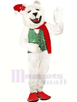 Holiday Polar Bear Mascot Costumes Cartoon