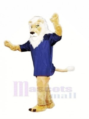 Brown Lion with Blue T-shirt Mascot Costumes Adult