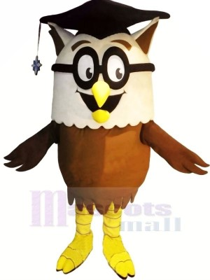 Erudite Owl with Glasses Mascot Costumes Animal