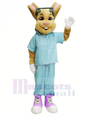 Doctor Bunny with Blue Suit Mascot Costumes Animal