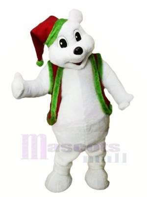 Christmas Bear with Red Hat Mascot Costumes Animal