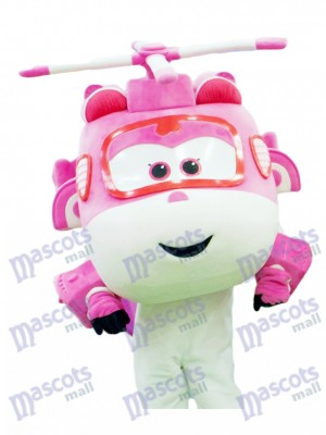 Pink and White Helicopter Dizzy Super Wings Mascot Costume Cartoon Anime