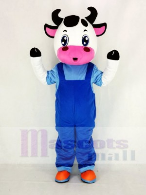 Cute Cow with Blue Overalls Mascot Costume Cartoon