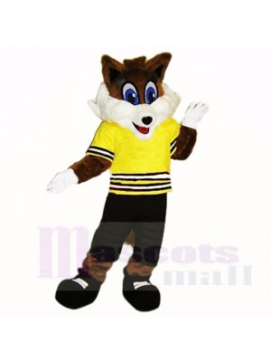 Sport Fox with Yellow Shirt Mascot Costumes School
