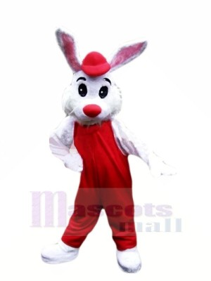 Lovely White Bunny with Red Suit Mascot Costumes Cheap