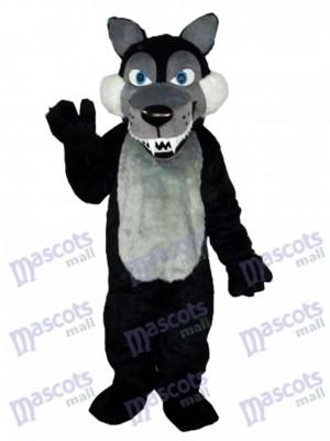 Long Wool Big Black Wolf Mascot Costume Animal