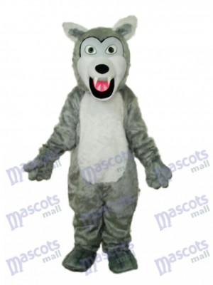 Small Long-haired Gray Wolf Mascot Adult Costume Animal