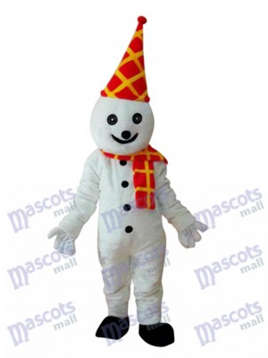 Snowman in Colorful Birthday Hat Mascot Adult Costume Christmas Xmas