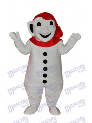 Smiling Snowman with Red Scarf Mascot Adult Costume Christmas Xmas