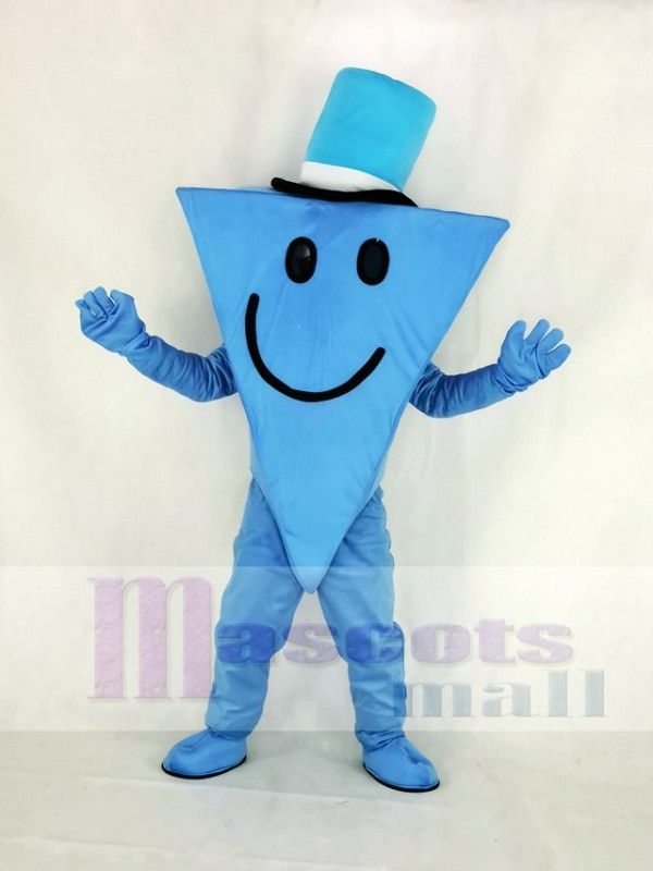 Mr Cool with Blue Hat Mascot Costume Cartoon