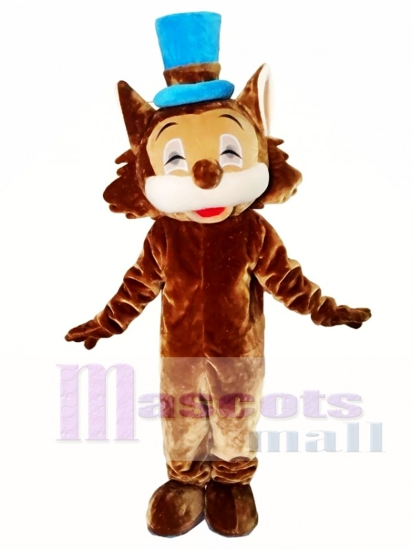Brown Cat Mascot Costumes with Blue Hat