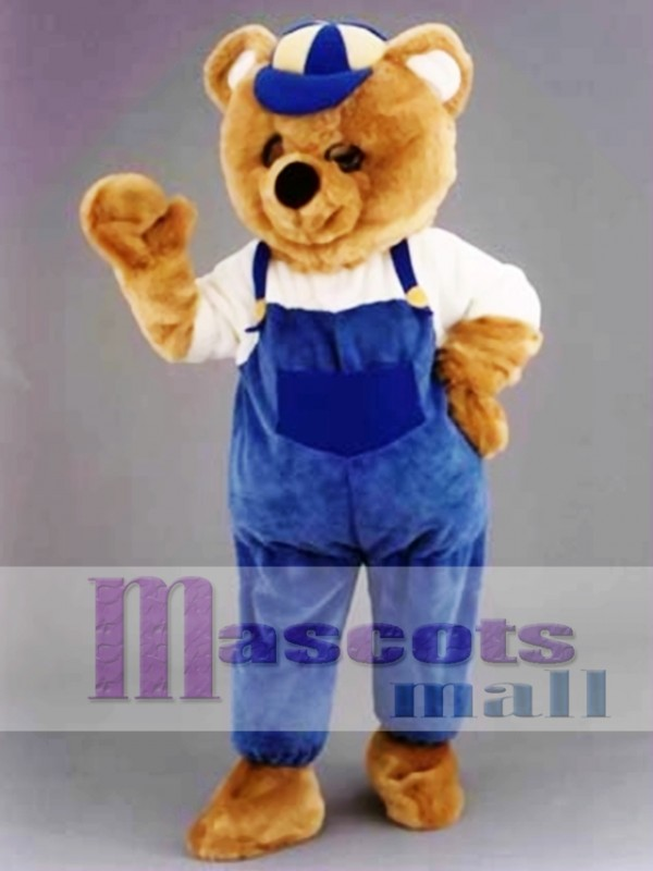 Teddy Bear Mascot Costume with Hat and Blue Overalls