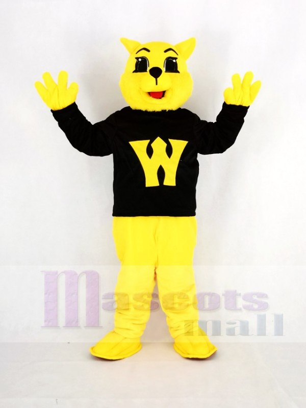 Yellow Wildcat in Black Coat Mascot Costume Animal