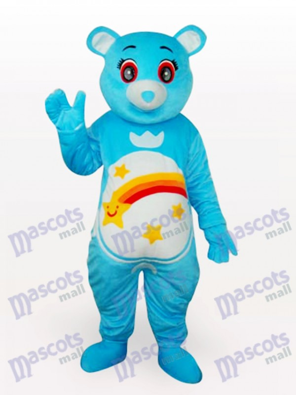Blue Bear Short Plush Adult Mascot Costume