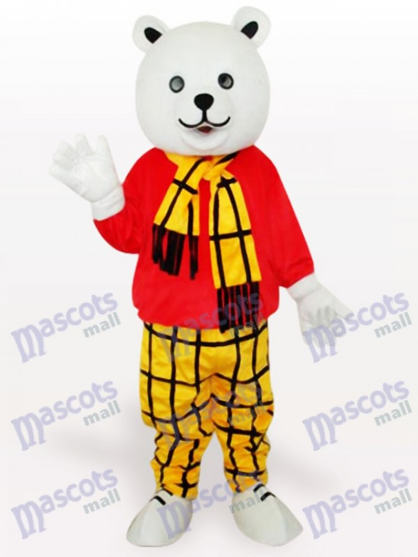 Bear in Red Shirt Cartoon Mascot Costume