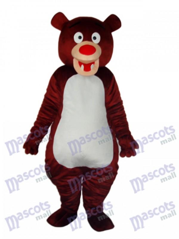 Brown Bear Blue Mascot Adult Costume