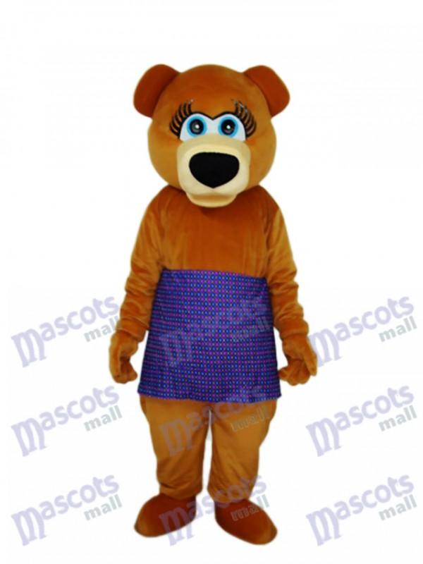 Brown Bear in Purple Skirt Mascot Adult Costume