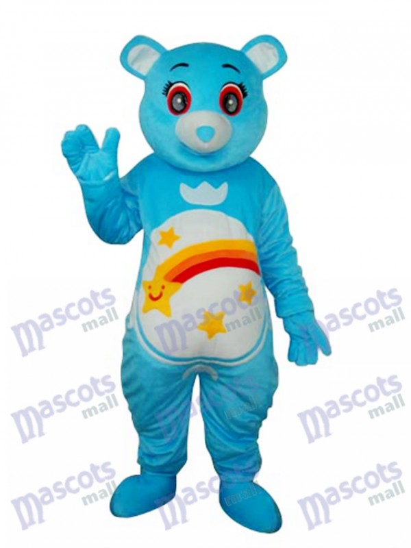 Flower Belly Blue Bear Mascot Adult Costume