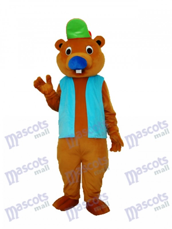 Beaver with Blue Shirt Mascot Adult Costume