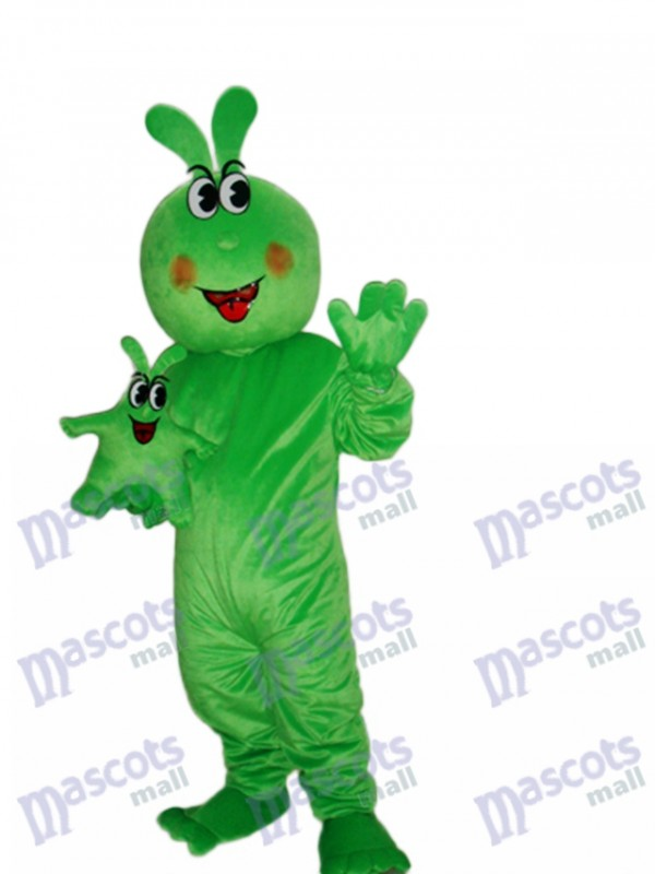 Happy Green Worm Mascot Adult Costume