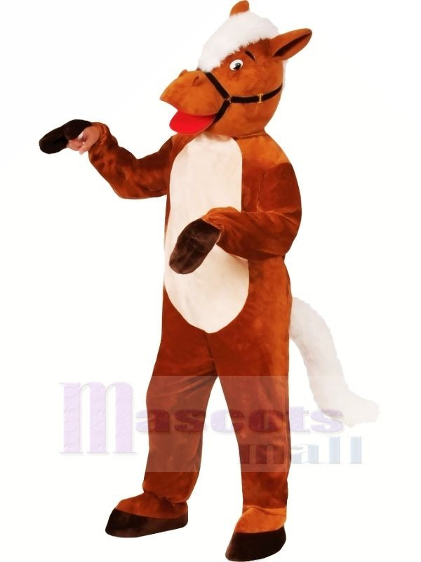 Smiling Brown Horse Mascot Costumes Cartoon