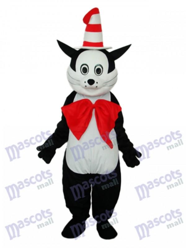 Black Cat with Hat Mascot Adult Costume