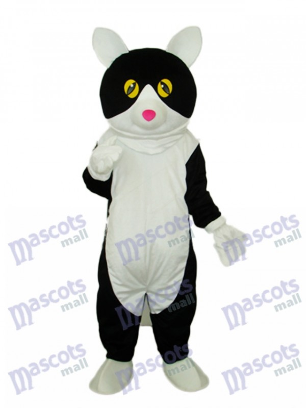 White Belly Black Cat Mascot Adult Costume