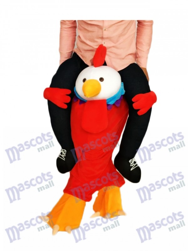 Piggyback Red Chick Carry Me Ride on Rooster Mascot Costume