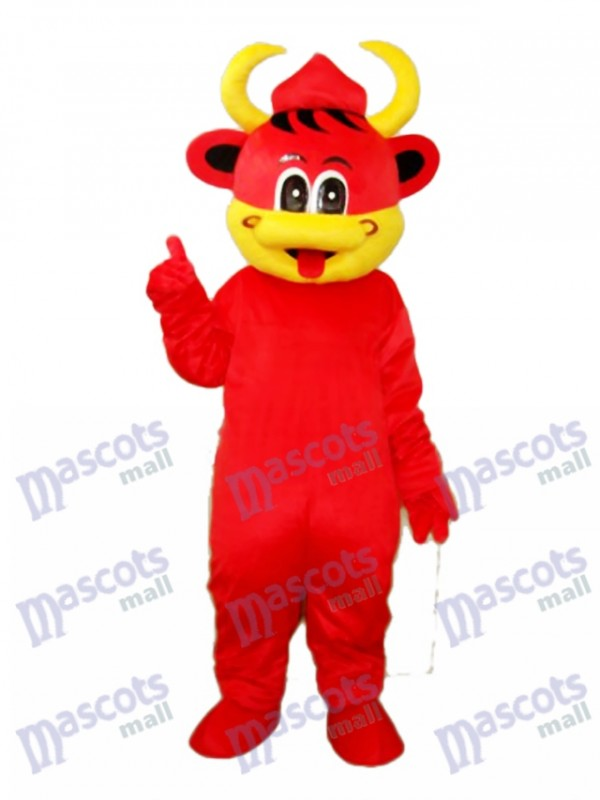 Yellow Mouse Red Cow Mascot Adult Costume