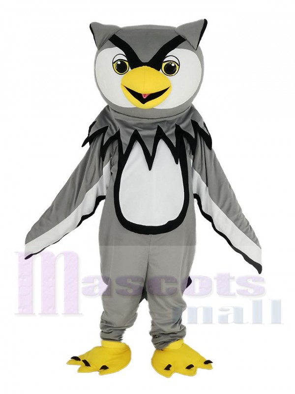 Gray Owl with Yellow Beak Mascot Costume Bird