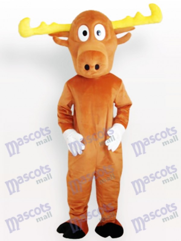 Yellow Reindeer Adult Mascot Costume