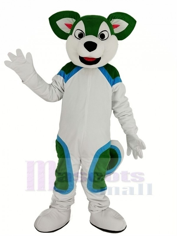Green and White Husky Dog Fursuit Mascot Costume Animal