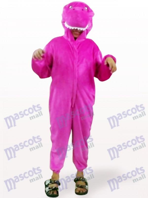 Shinny Purple Dinosaur Open Face Kids Mascot Costume