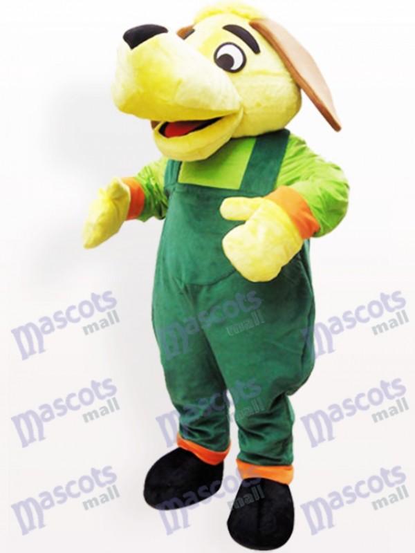 Green And Yellow Dog Plush Adult Mascot Costume
