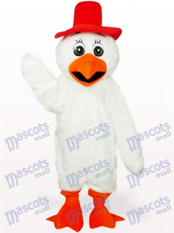 White Long Hair Cowboy Chicken Poultry Adult Mascot Costume