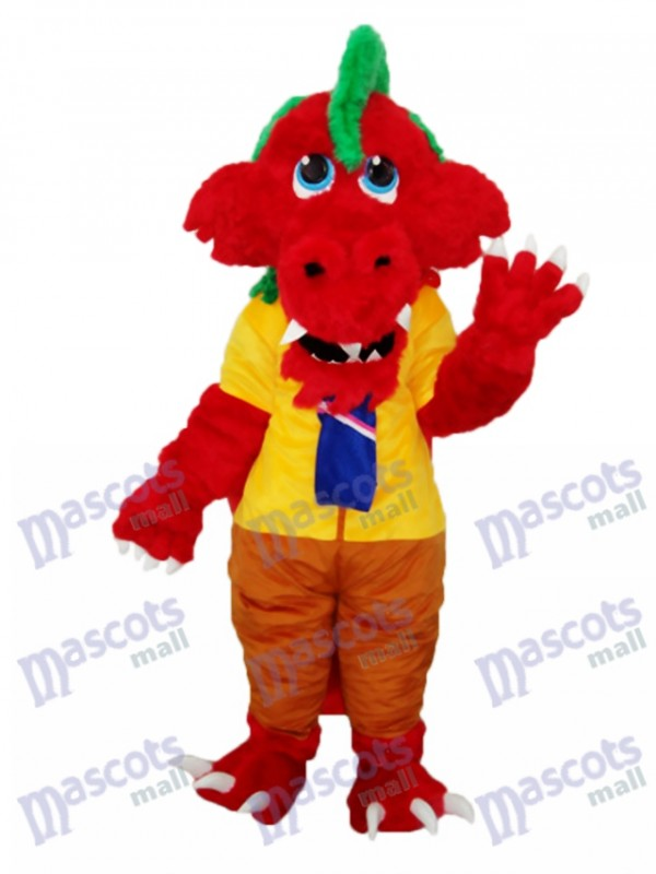 Long Wool Red Dragon Mascot Adult Costume