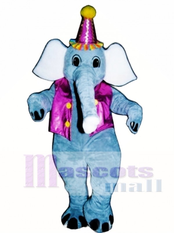 Elliot Elephant with Vest & Hat Mascot Costume