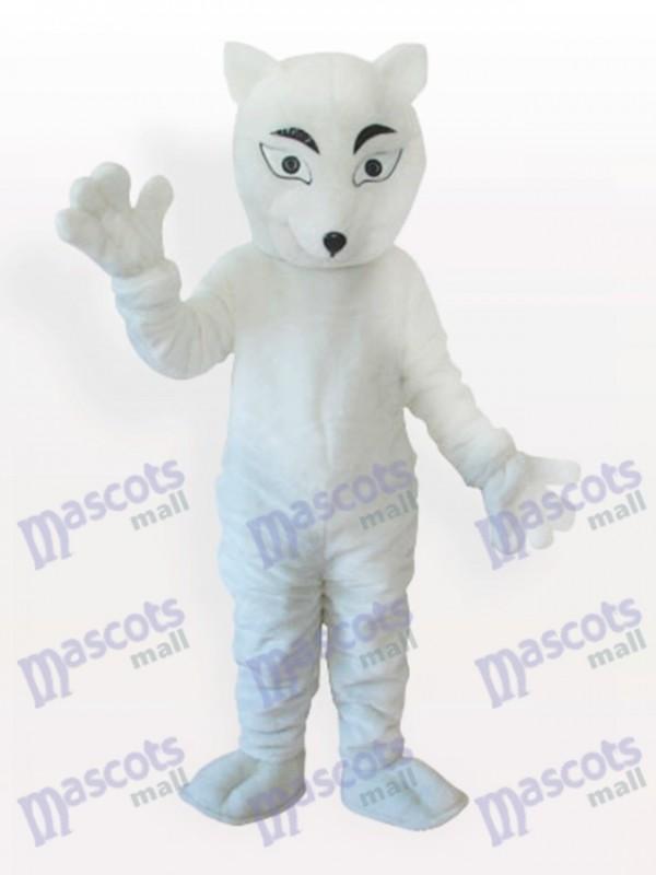 White Polar Fox Adult Mascot Costume