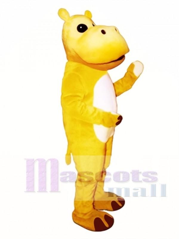 Yellow Hippo Mascot Costume
