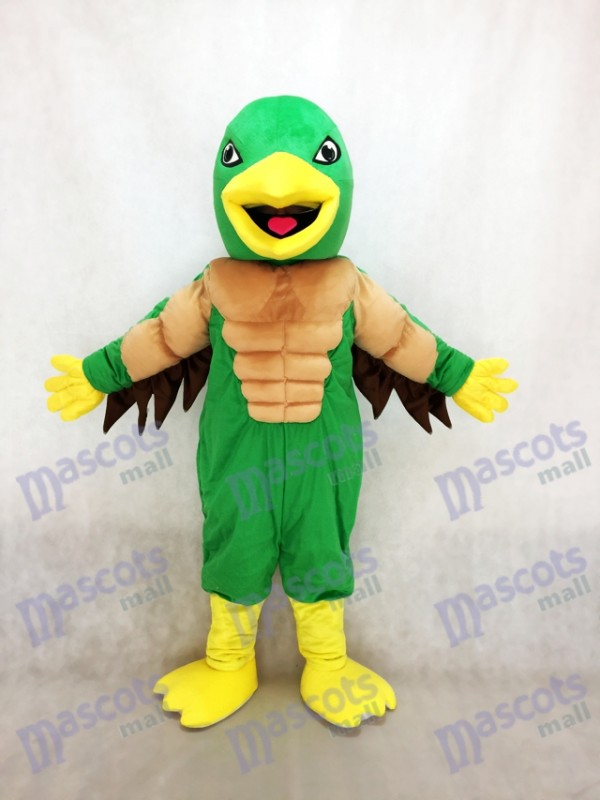 Mighty Golden Eagle Green and Yellow Mascot Costume
