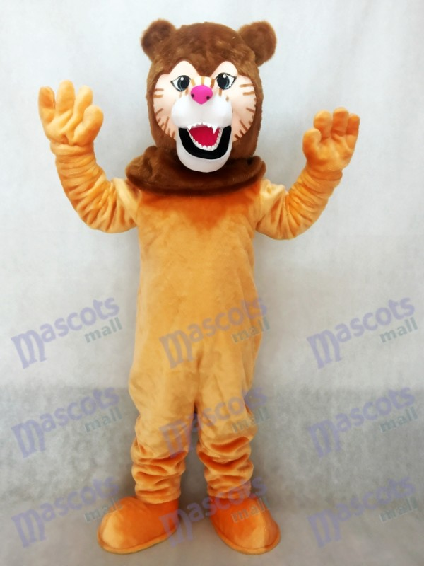 Lion Mascot Costume with Dark Brown Mane
