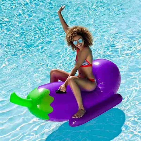Inflatable Eggplant Pool Float Ride-on Air Board Floating Outdoor Beach
