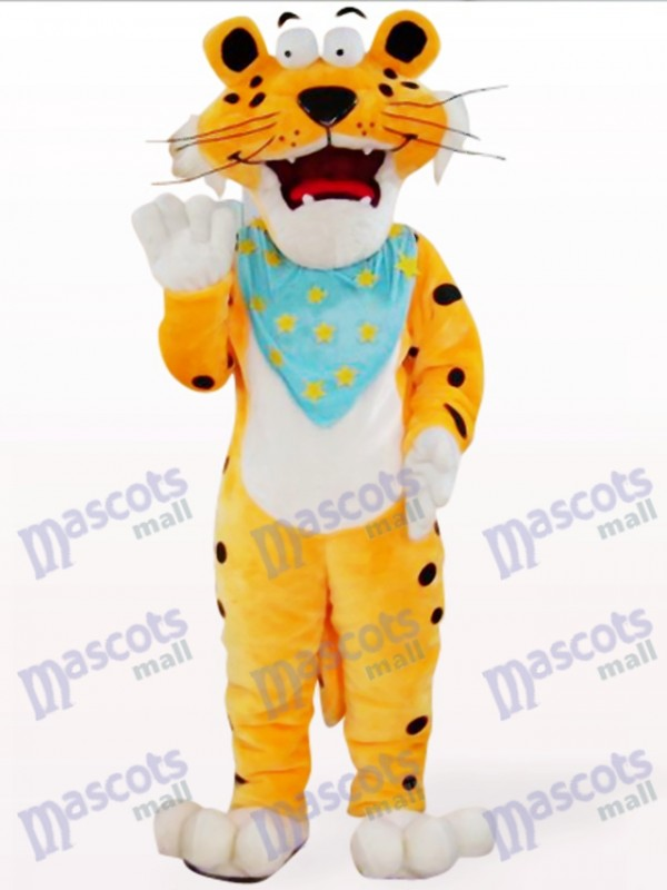 Orange Leopard With Blue Scarf Mascot Costume