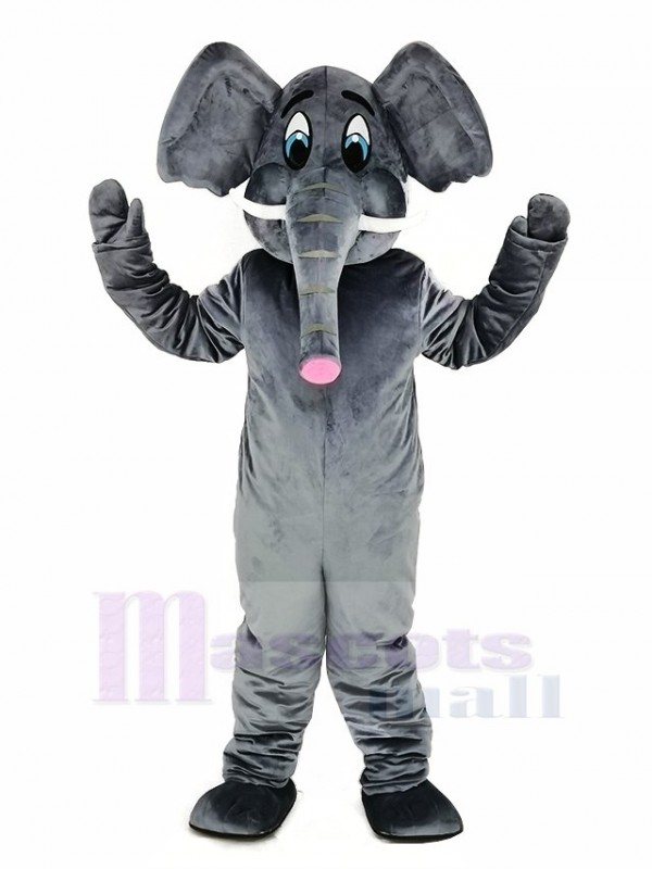 Gray Elephant Adult Mascot Costume Cartoon