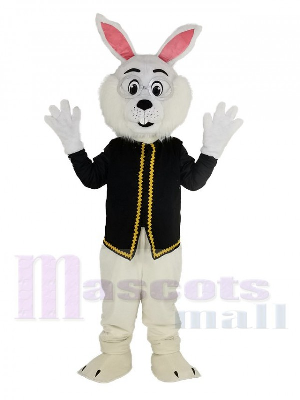 Easter Blue Bunny Rabbit in Black Waistcoat Mascot Costume