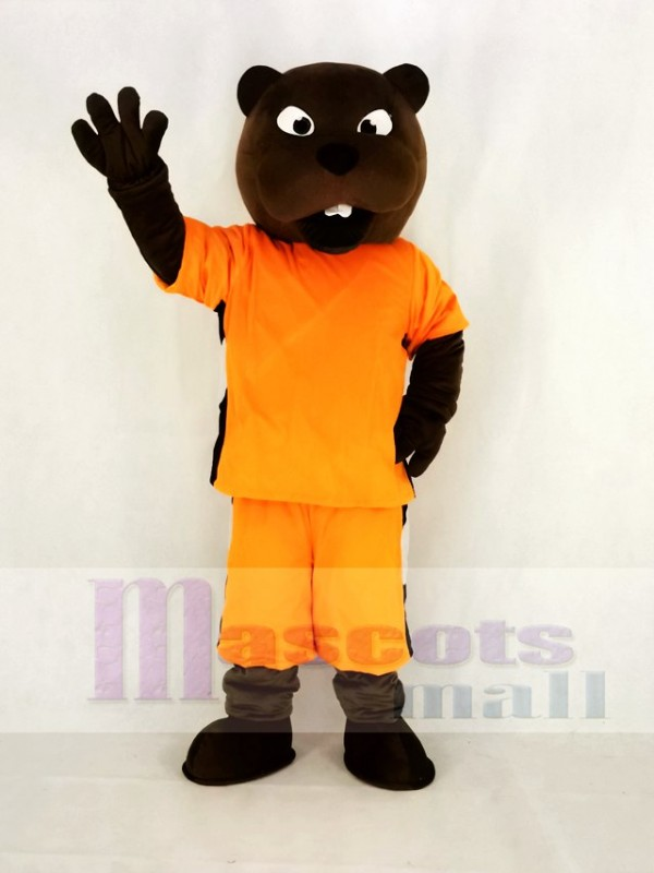 Realistic Sport Power Beaver in Orange Mascot Costume College
