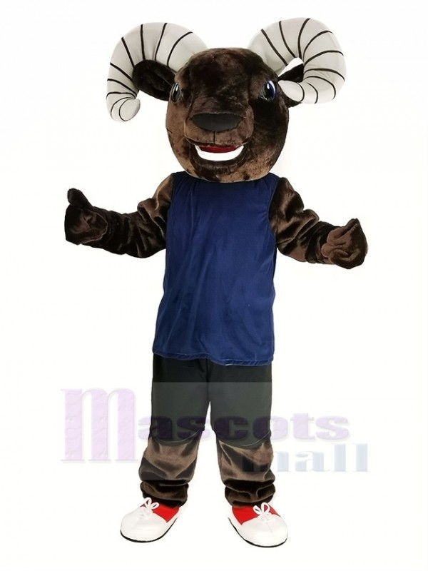 Dark Brown Sport Ram with Blue Vest Mascot Costume Animal