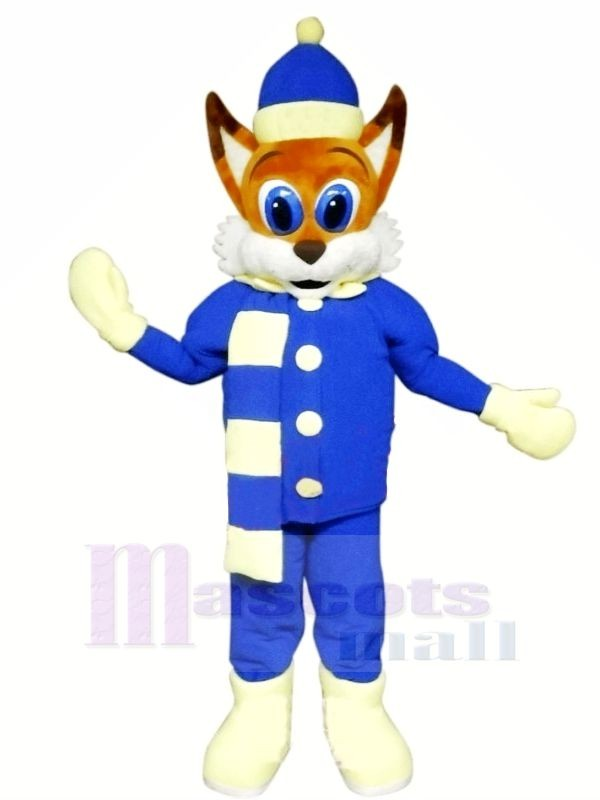 Brown Fox with Blue Suit Mascot Costumes Cartoon